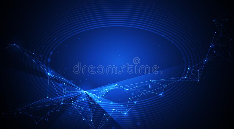 Tecnologia do vetor no fundo azul Projeto da conex?o de Internet do sum?rio da ilustra??o para o site ilustração royalty free