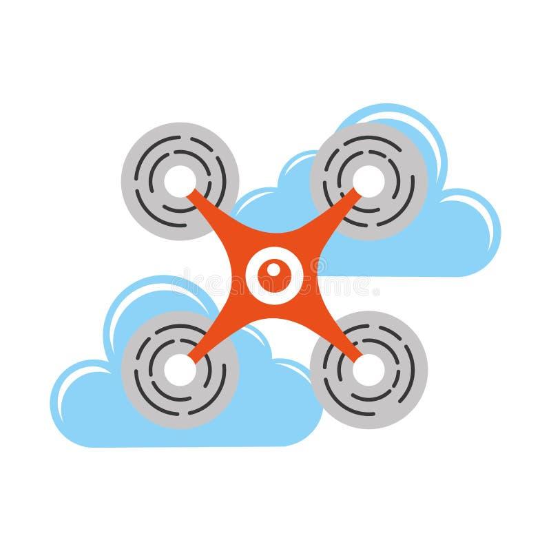 Tecnologia do voo do zangão com nuvens ilustração stock