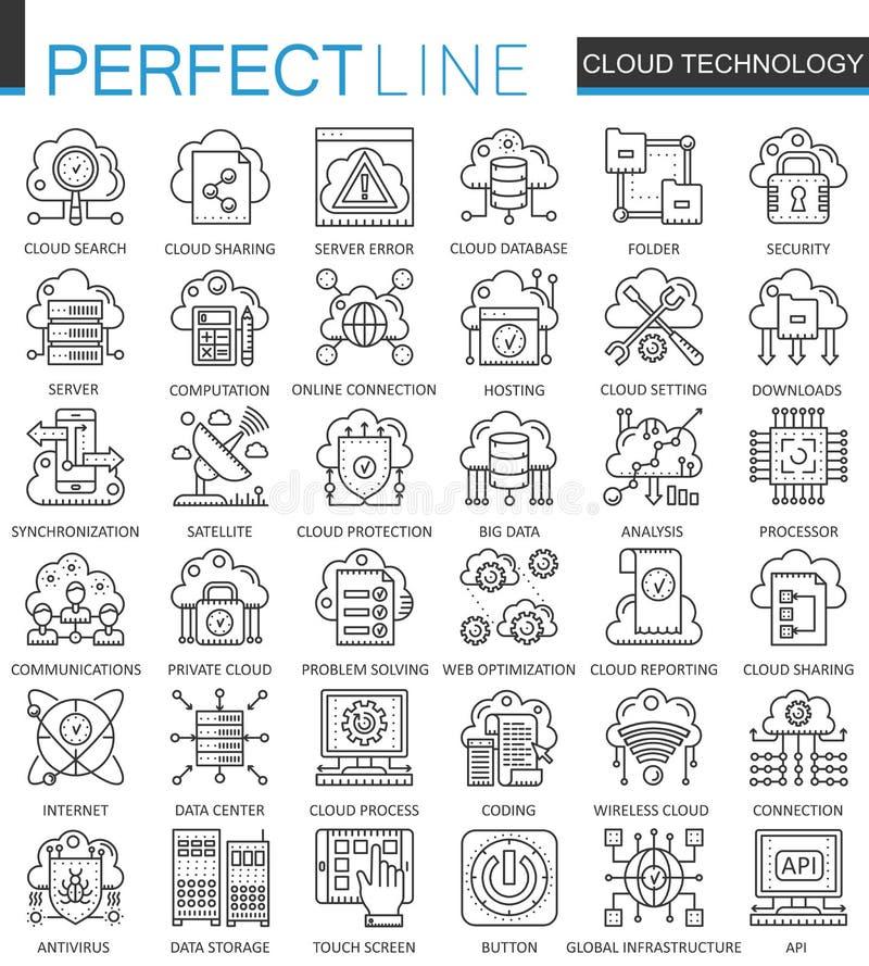 A tecnologia dos dados da nuvem presta serviços de manutenção a símbolos do conceito do esboço Linha fina perfeita ícones Estilo  ilustração royalty free