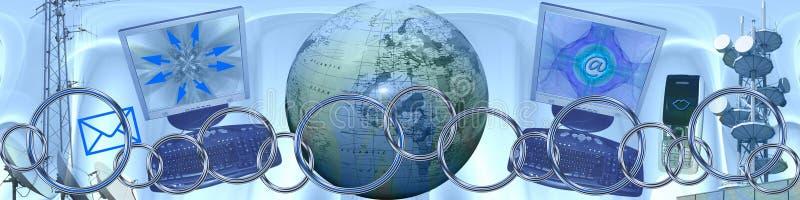 Tecnologia e collegamenti in tutto il mondo illustrazione di stock