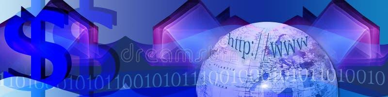 Tecnologia e comércio electrónico da bandeira ilustração royalty free