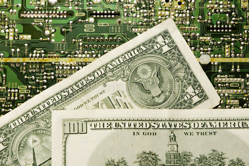 Tecnologia e dinheiro fotos de stock