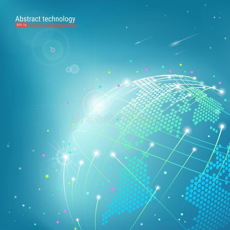 Tecnologia e Internet da Web Planeta abstrato Fundo futurista com pontos e linhas Ilustração do vetor efeito do fulgor ilustração royalty free