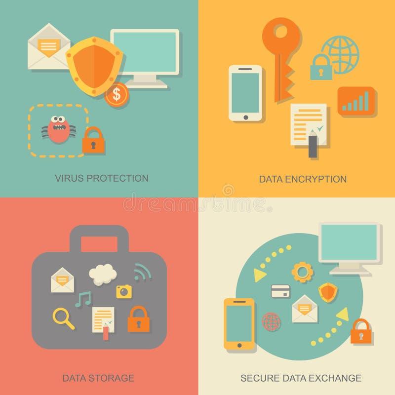 Tecnologia e nuvem da proteção de dados comerciais ilustração do vetor