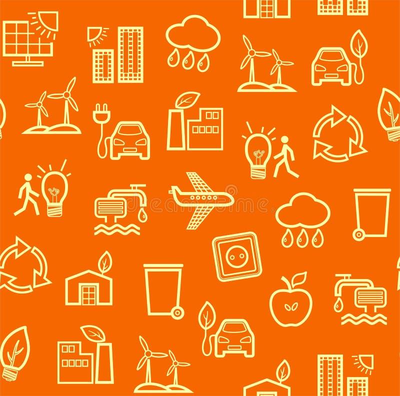 tecnologia Eco-amigável, teste padrão sem emenda, laranja, desenho do contorno, cor, vetor ilustração do vetor