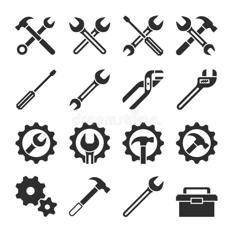 Tecnologia ed icone di vettore degli strumenti di servizio di manutenzione illustrazione vettoriale
