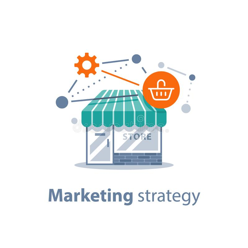 A tecnologia em linha da compra, estratégia de marketing, desenvolvimento varejo, armazena a parte dianteira ilustração stock