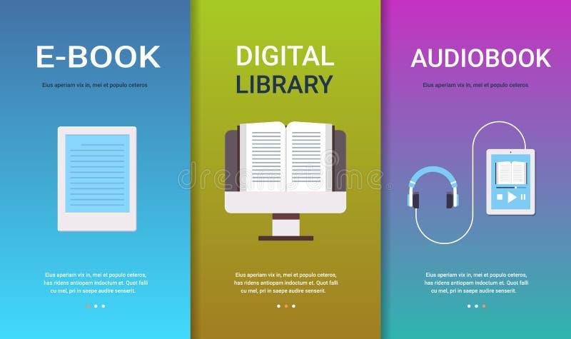 Tecnologia em linha dos livros de leitura do ensino eletrónico da educação da coleção digital ajustada dos conceitos do audiobook ilustração do vetor