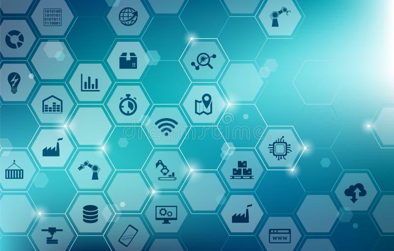 Tecnologia esperta da fábrica/iot/conceito da automatização - dados grandes ilustração do vetor