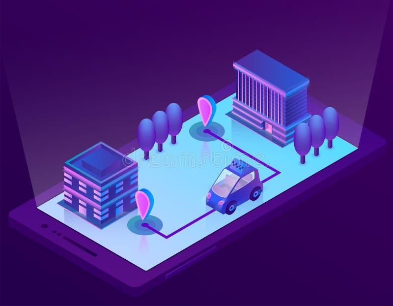 Tecnologia esperta isométrica do carro do vetor para o smartphone ilustração do vetor