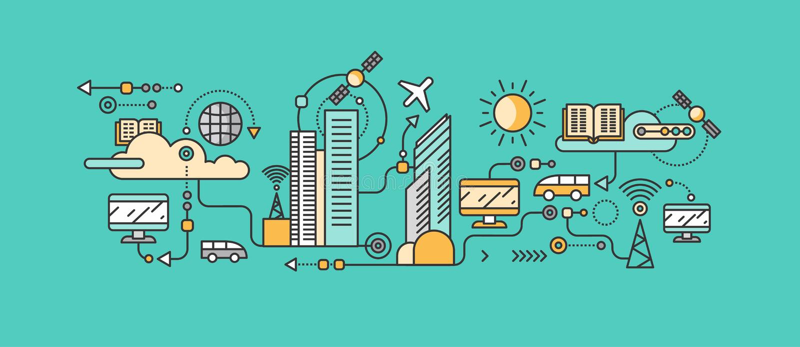Tecnologia esperta na infraestrutura da cidade ilustração do vetor