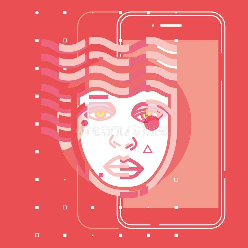 Tecnologia futura app do cérebro digital da inteligência artificial, projeto liso do vetor do conceito ilustração royalty free