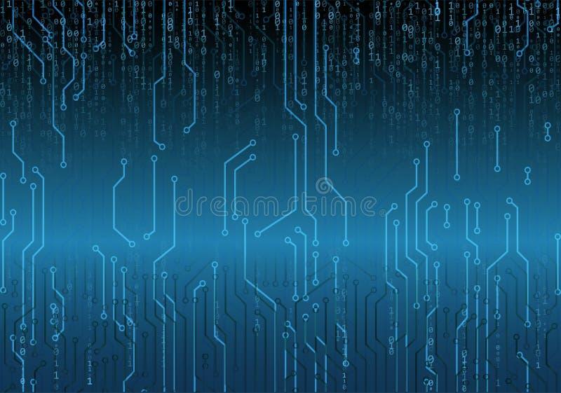 Tecnologia futura da placa de circuito binário, fundo azul do conceito da segurança do cyber, Programador web Código de computado ilustração do vetor