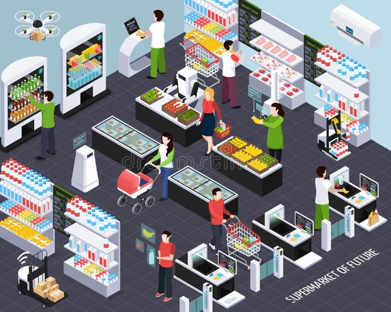 Tecnologia futura del supermercato isometrica illustrazione vettoriale