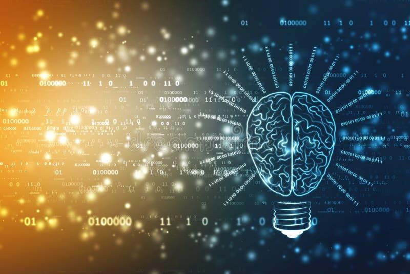 Tecnologia futura della lampadina con il cervello, fondo dell'innovazione, concetto di intelligenza artificiale illustrazione di stock