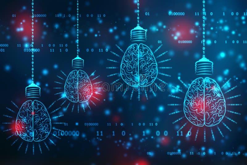 Tecnologia futura della lampadina con il cervello, fondo dell'innovazione, concetto di intelligenza artificiale fotografia stock