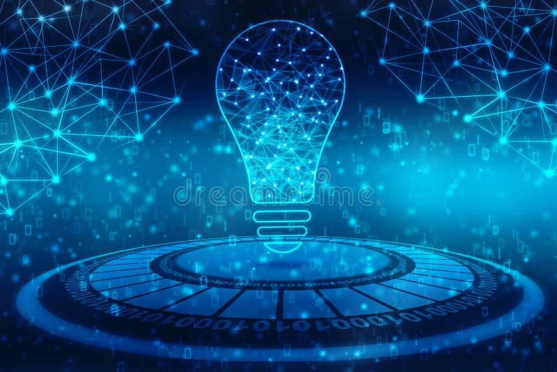 Tecnologia futura do bulbo, fundo da inovação, conceito criativo da ideia ilustração stock