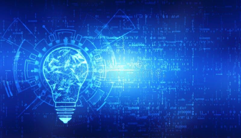 Tecnologia futura do bulbo, fundo da inovação, conceito criativo da ideia ilustração royalty free