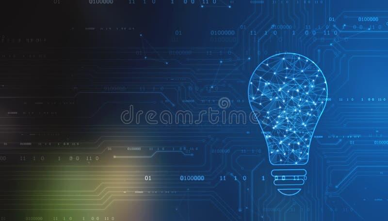 Tecnologia futura do bulbo, fundo da inova??o, conceito criativo da ideia imagem de stock