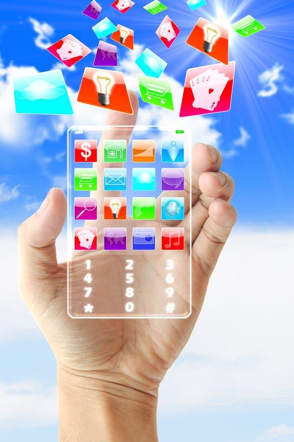 Tecnologia futura do telefone da posse da mão fotos de stock