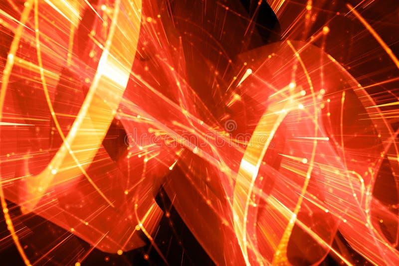 Tecnologia futurista impetuosamente de incandescência e dados grandes no movimento ilustração do vetor