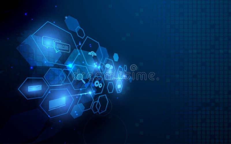 Tecnologia geométrica abstrata da forma e fundo social do conceito das comunicações ilustração stock