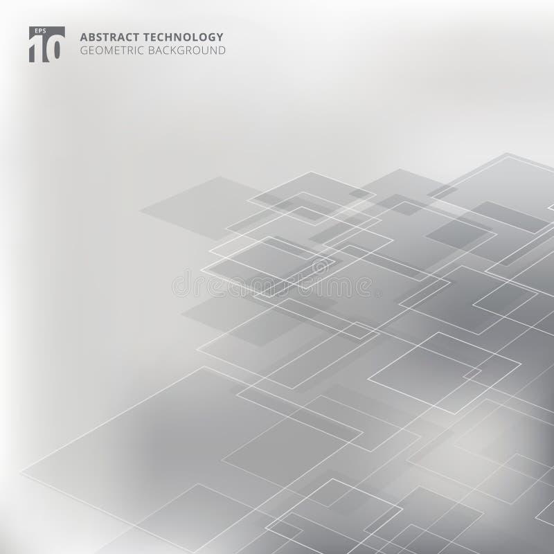 Tecnologia geometrica astratta di prospettiva del modello di forma dei quadrati illustrazione vettoriale