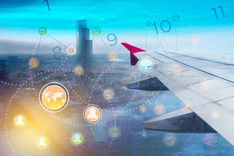 Tecnologia global do conceito da cidade da conexão central da rede do fundo do negócio imagem de stock