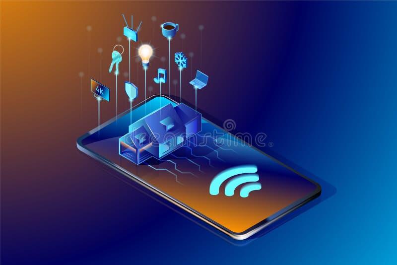 Tecnologia home esperta Ilustração isométrica do vetor Conceito de projeto abstrato do sistema da automatização da casa ilustração royalty free