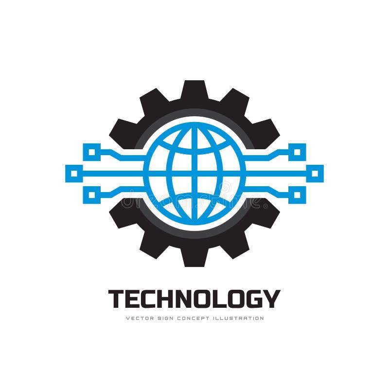 Tecnologia - ilustração do vetor do molde do logotipo do negócio do conceito Símbolos do mundo e da engrenagem do globo Sinal do  ilustração stock