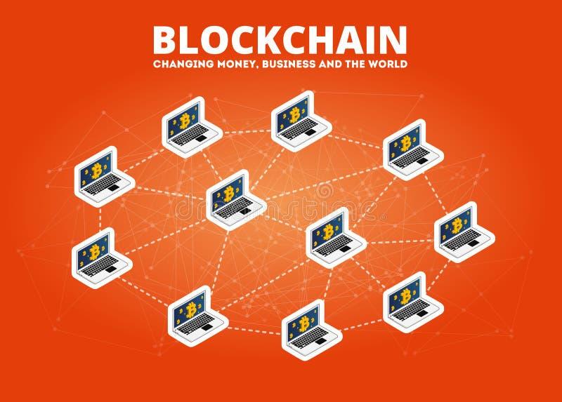 Tecnologia isométrica do cryptocurrency do bitcoin da ilustração de transferência de dados de Blockchain ilustração do vetor