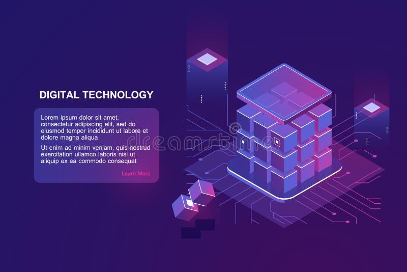 Tecnologia isométrica do vetor foto de stock