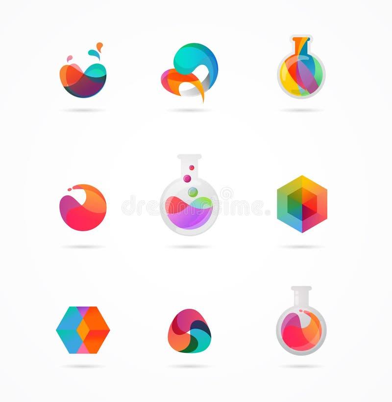 Tecnologia, laboratorio, innovazione di creatività ed icone astratte di scienza illustrazione vettoriale