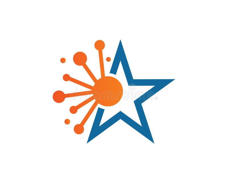 Tecnologia Logo Template Design Vetora da estrela, emblema, conceito de projeto, símbolo criativo, ícone ilustração royalty free