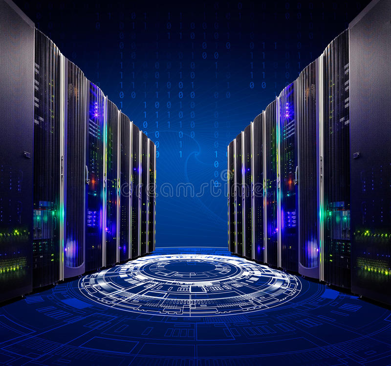 Tecnologia moderna da telecomunicação da rede e do Internet da Web, empresa de serviços de computação do computador da nuvem gran foto de stock royalty free