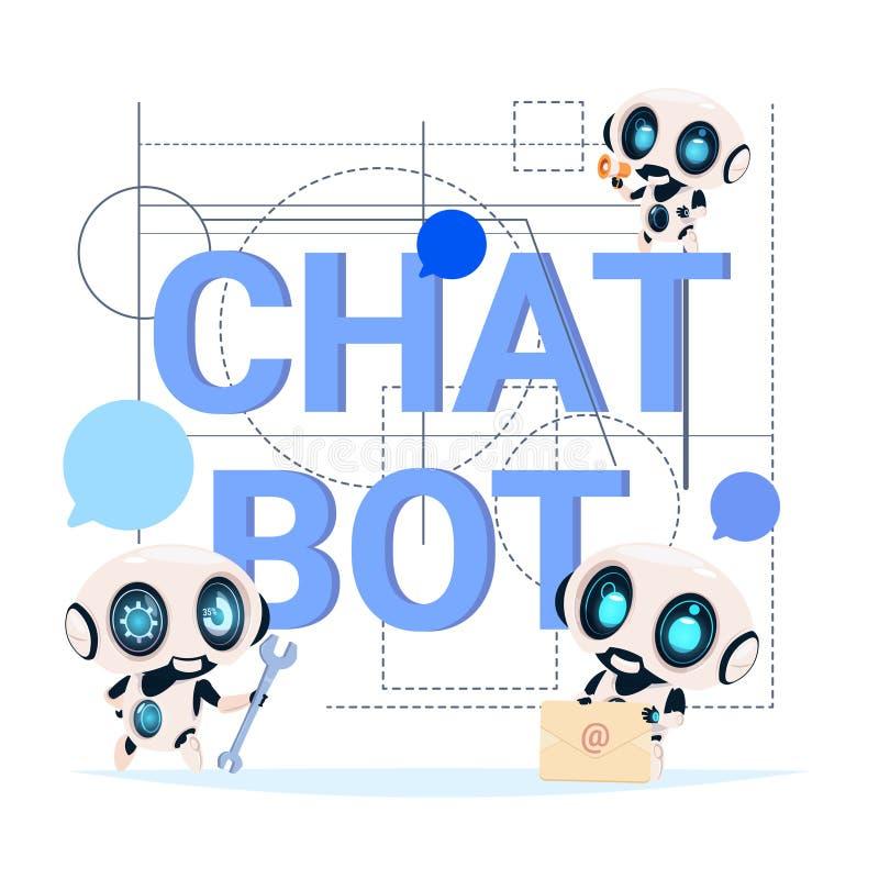 Tecnologia moderna dell'insegna di servizio del Bot di chiacchierata del concetto del robot di schiamazzo del supporto tecnico illustrazione vettoriale