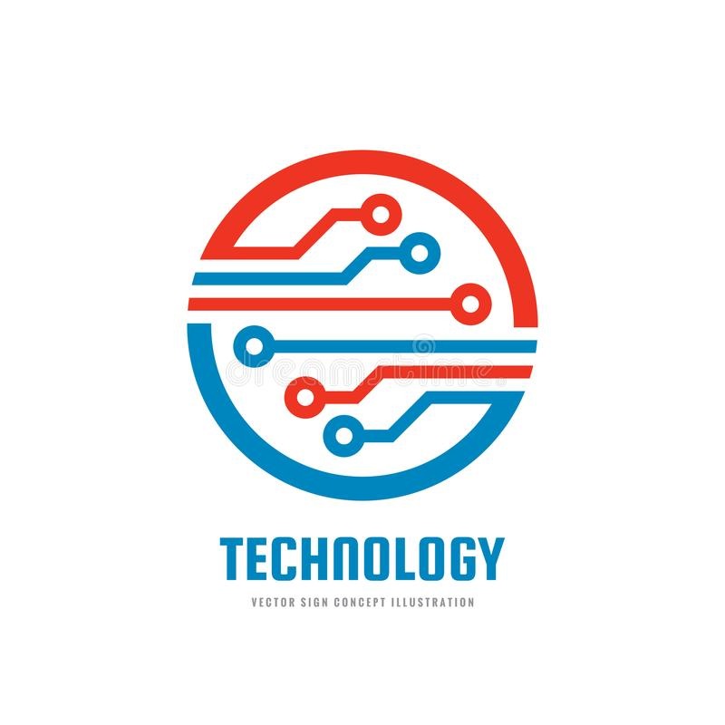 Tecnologia - molde do logotipo do negócio do vetor para a identidade corporativa Sinal abstrato da microplaqueta Rede, ilustração ilustração royalty free