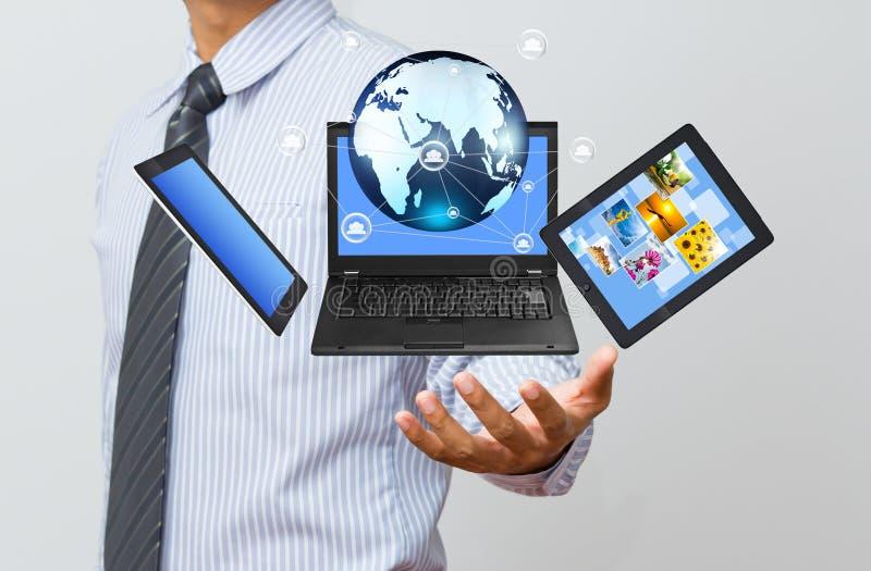 Tecnologia na mão do negócio fotos de stock