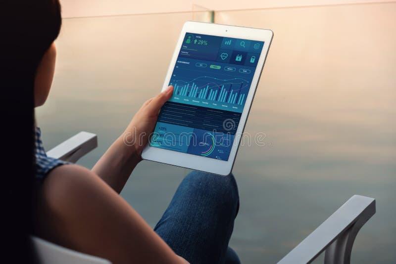 Tecnologia nel concetto di vendita di affari e di finanza I grafici ed i grafici mostrano sullo schermo del cuscinetto di tocco V fotografia stock libera da diritti