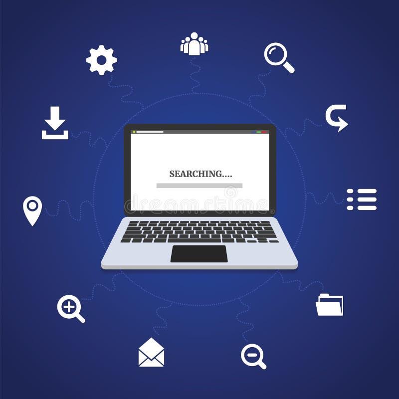 Tecnologia nella vita di tutti i giorni nel usando sociale del computer portatile della donna di affari dell'icona di media di ve royalty illustrazione gratis