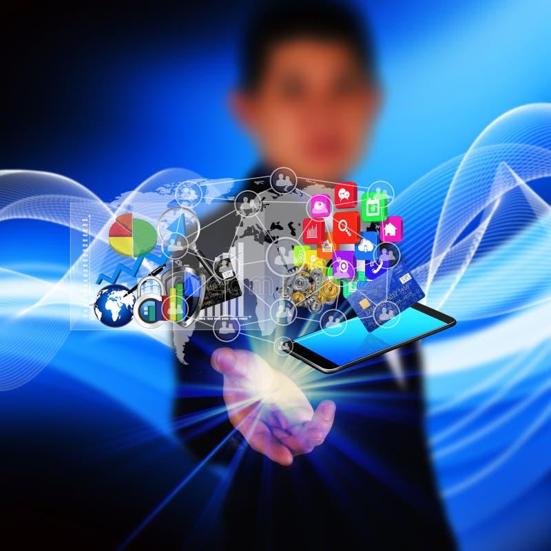Tecnologia nelle mani degli uomini d'affari immagini stock libere da diritti
