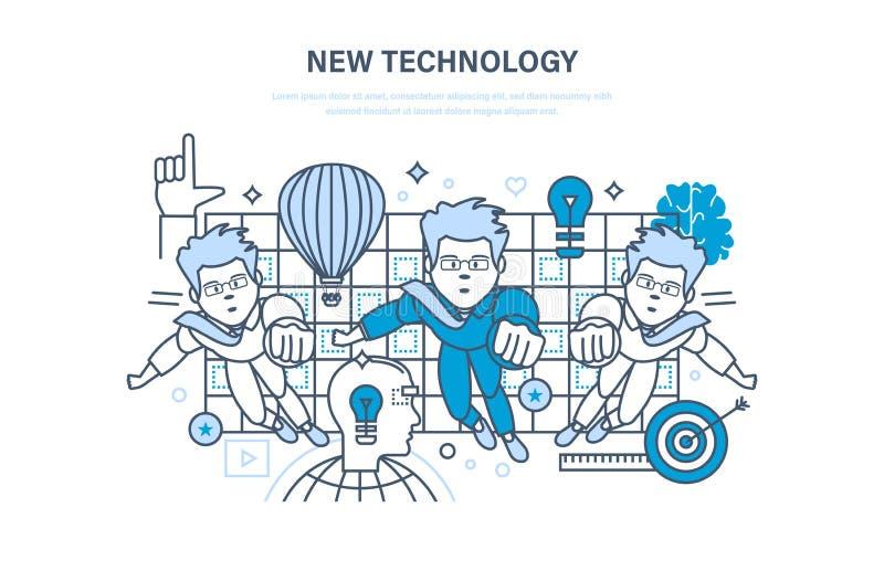 Tecnologia nova Pesquisa da inovação A educação, cursos em linha, começa acima, treinando ilustração royalty free