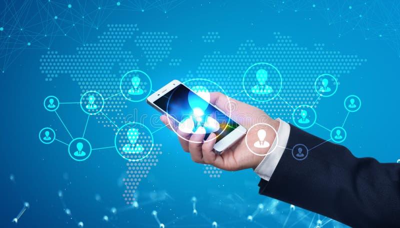 Tecnologia olografica di futuro del telefono cellulare fotografia stock