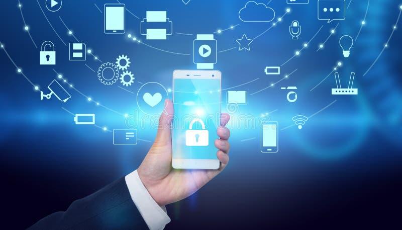 Tecnologia olografica di futuro del telefono cellulare immagini stock libere da diritti