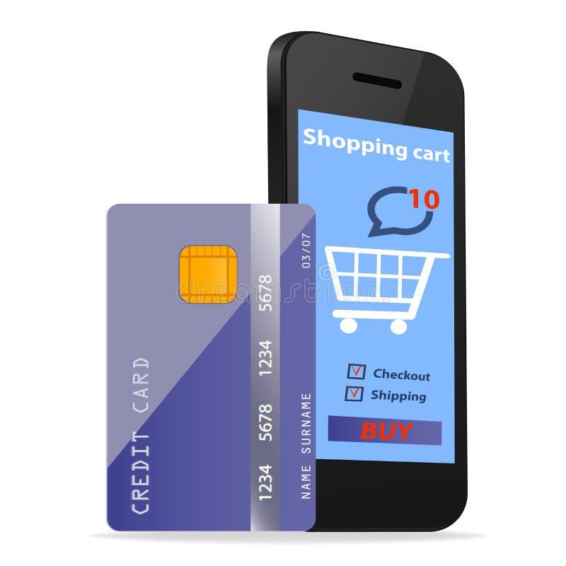 Tecnologia online di commercio elettronico di concetto di acquisto con Smartphone moderno e carta di credito isolata su bianco illustrazione vettoriale
