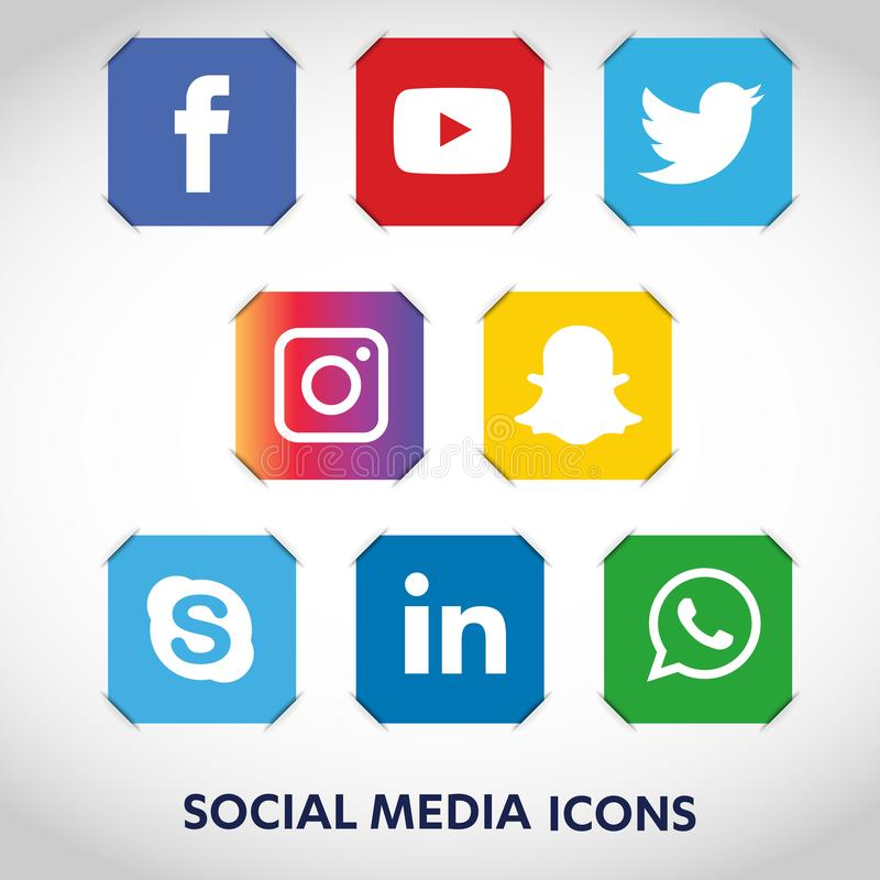 Tecnologia piana delle icone, media sociali, rete, concetto del computer Fondo astratto con il gruppo di oggetti di elementi smil illustrazione di stock