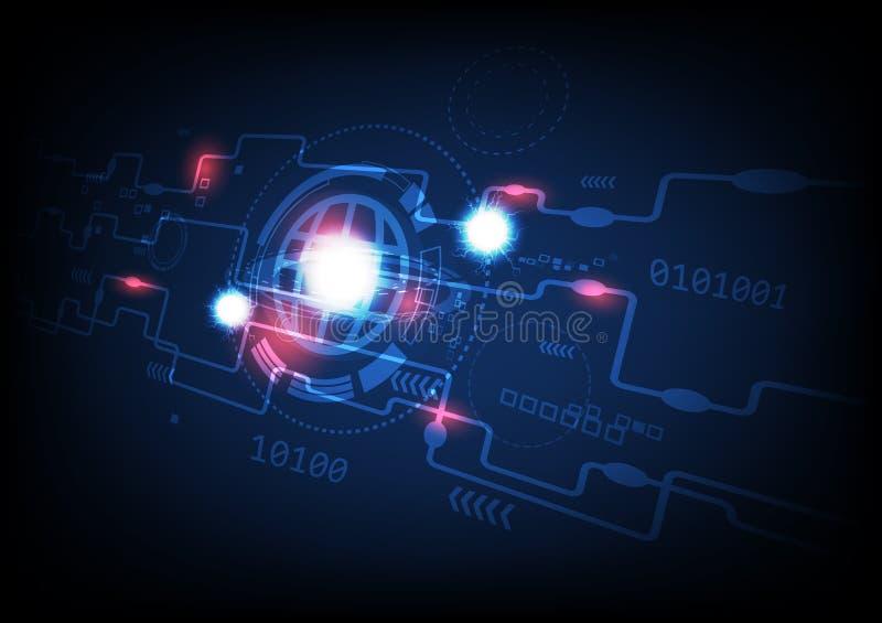 Tecnologia, pianeta, prospettiva di sicurezza informatica, illustrazione astratta grafica digitale di vettore del fondo di avvert illustrazione di stock