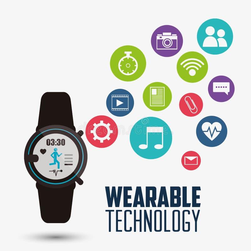 Tecnologia portabile dell'orologio di applicazione astuta di salute illustrazione di stock