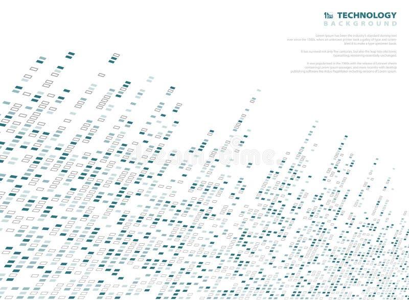 Tecnologia quadrata del modello di tono blu del fondo dell'estratto di fondo geometrico Decorando nella progettazione della coper illustrazione vettoriale