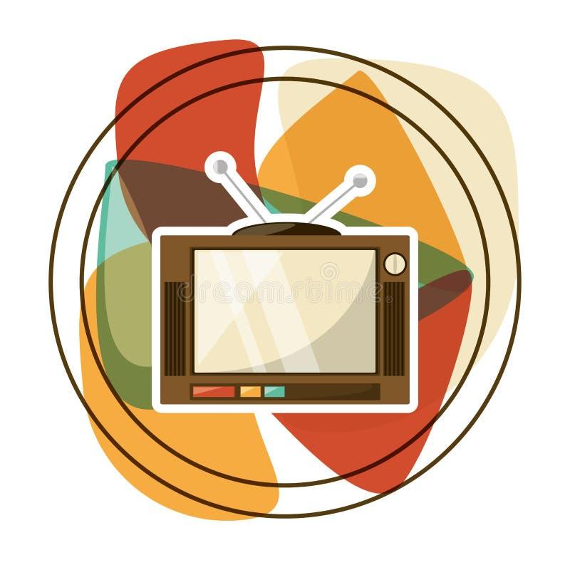 Tecnologia retro da televisão do entretenimento ilustração do vetor